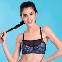Clovia Padded Underwired Polka Print Racerback Sports Bra - Blue