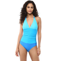 Blush Plunge Halter Neck Swimsuit - Blue