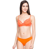 Candyskin Unlined Demi Bra With Seamless with Lace Panty Set - Orange