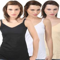 Bodycare V-Neck Camisole In Black-Skin-White Color (Pack Of 3)