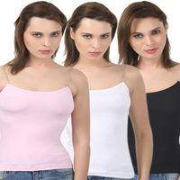 Bodycare Body Hugging Camisole In Pink-White-Black Color (Pack Of 3)