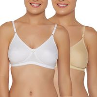 Libertina Emily Skin/White Color Cotton Fabric Full Coverage Bra Pack Of 2