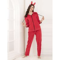 Clovia Velour Top & Pyjama - Red