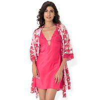PrettySecrets Satin Plunge Nightdress & Wrap - Multi Colour