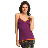 Clovia Cotton Camisole In Dark Purple