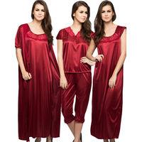 Clovia 4-Piece Satin Nightwear In Maroon