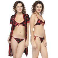 N-Gal Women Maroon Printed Bikini with Robe Nighty