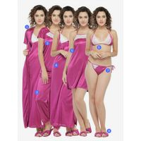 N-Gal Women's 8 Pcs Purple Nightwear Set With Footwear