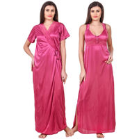 Fasense Women Satin Coral Pink Nightwear 2 Pc Set of Nighty & Wrap