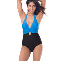 PrettySecrets Plunge Key-Hole Swimsuit - Black, Blue