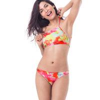 PrettySecrets High Neck Top Bikini - Pink, Multi Colour / Print