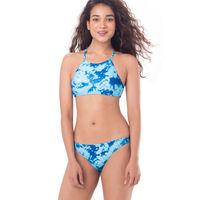 PrettySecrets High-Neck Top Bikini - Blue, Multi Colour / Print