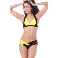 PrettySecrets Wrap Triangle Halter Bikini - Black, Yellow