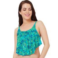 Amante Green Printed Swim Top