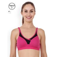 Floret Pack of 2 Solid Sports Bra - Multi-Color