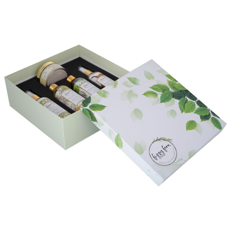 Fizzy Fern Spa At Home Gift Box (Body Massage Oil, Hair Oil, Face Pack, Body Lotion & Sunscreen)
