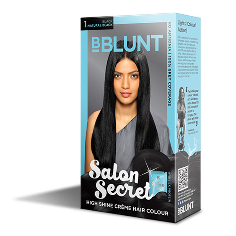 BBLUNT Mini Salon Secret High Shine Creme Hair Colour - Black Natural Black 1 (Off Rs.4)