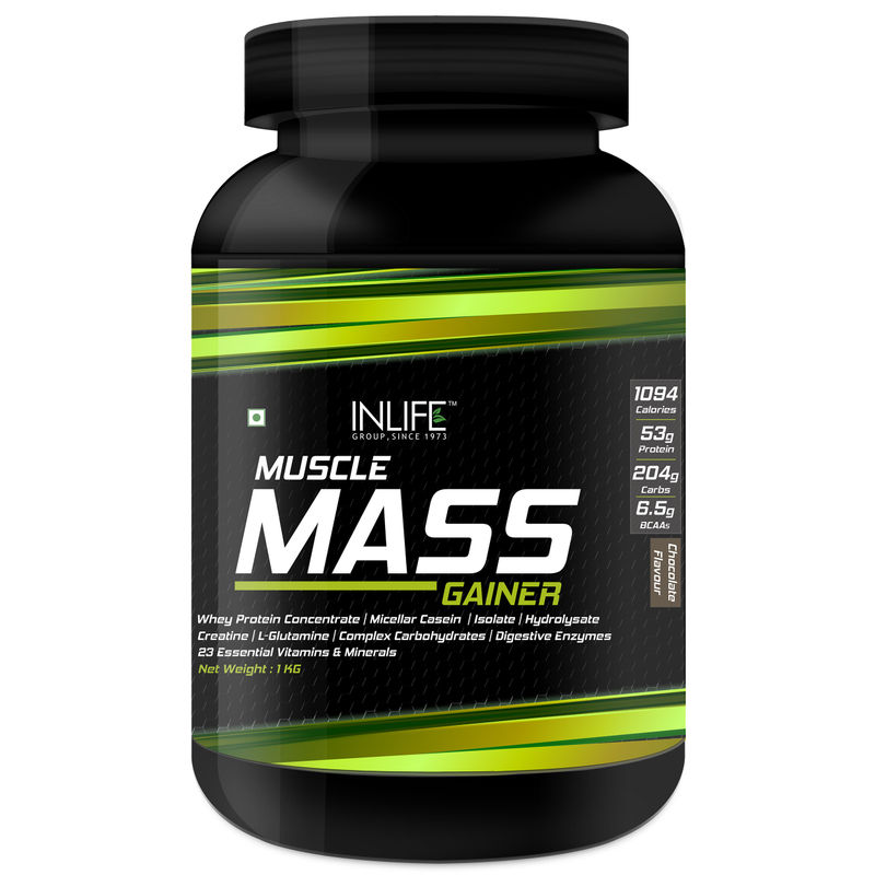 INLIFE Muscle Mass Gainer Chocolate Protein Powder With Whey Protein 1Kg