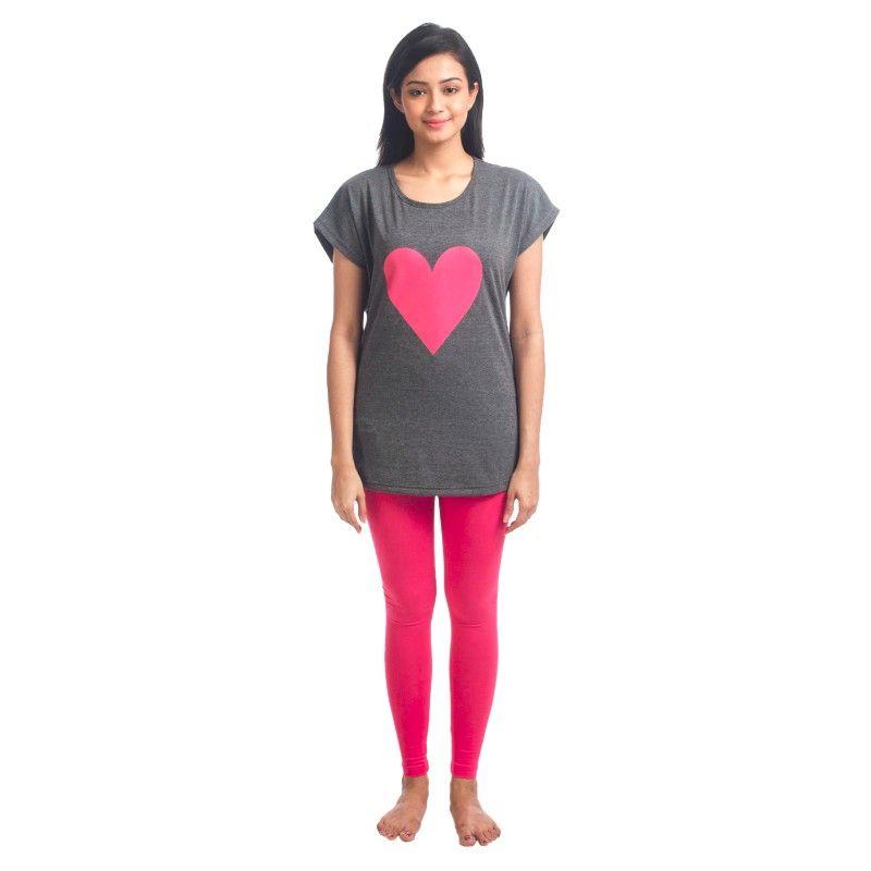 d4325e6042fde9 Nite Flite Trendy Long Top And Leggings Set - Dark Grey & Hot Pink (S)