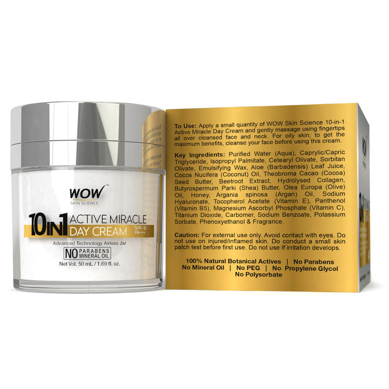 WOW 10 in 1 Active Miracle Day Cream SPF 15 PA++(50ml)