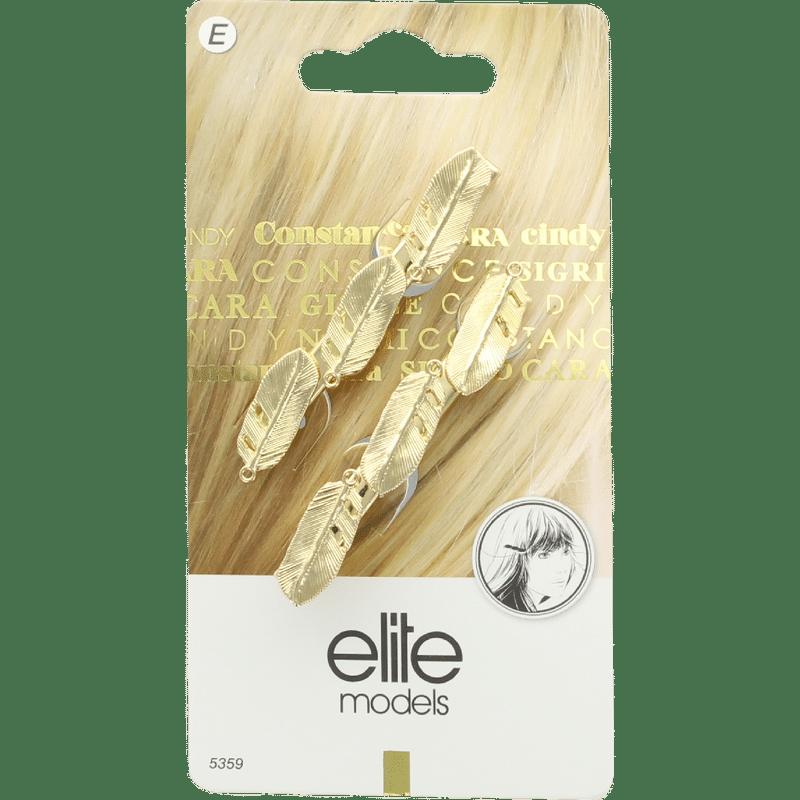 Elite Models (France) Designer Hair Jewellery Side Clips (2 Pc Set) - Gold