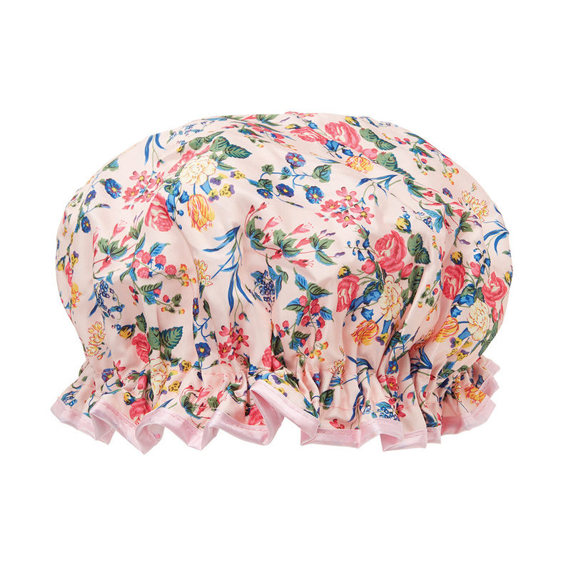 The Vintage Cosmetic Company Pink Floral Satin Shower Cap