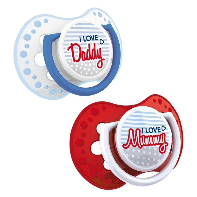 Lovi Dynamic Soother Silicone (6-18M) Red & Blue - 2 Pieces