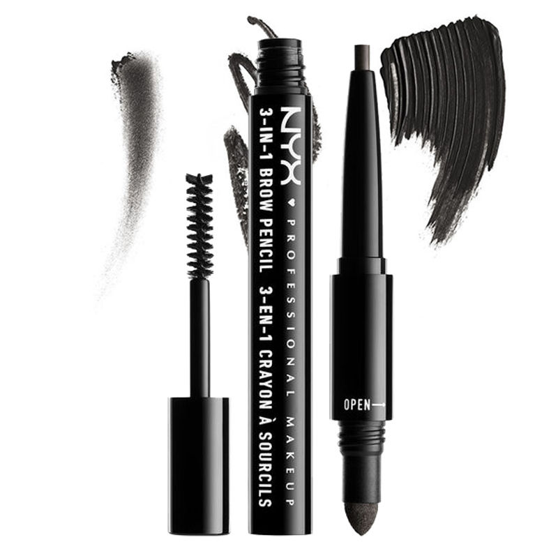 NYX Professional Makeup 3-In-1 Brow Pencil - Black