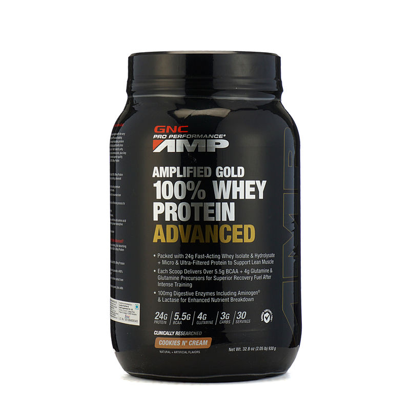 GNC Amp Gold 100% Whey Protein Advanced Cookies N Creame Powder (2.05lb)