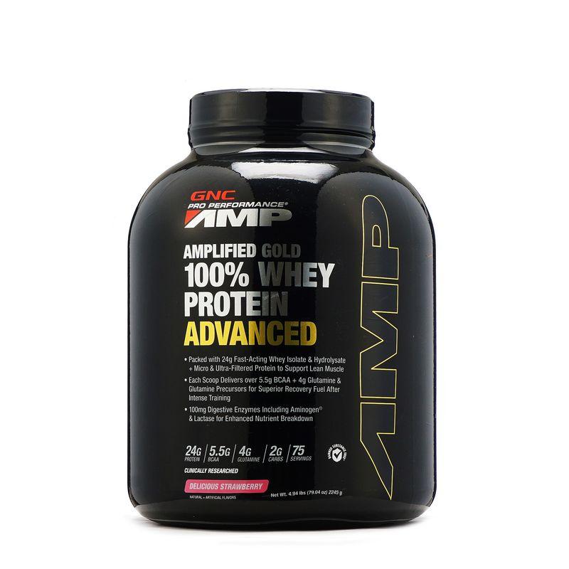 GNC Amp Gold 100% Whey Protein Advanced Strawberry Powder (4.94lb)