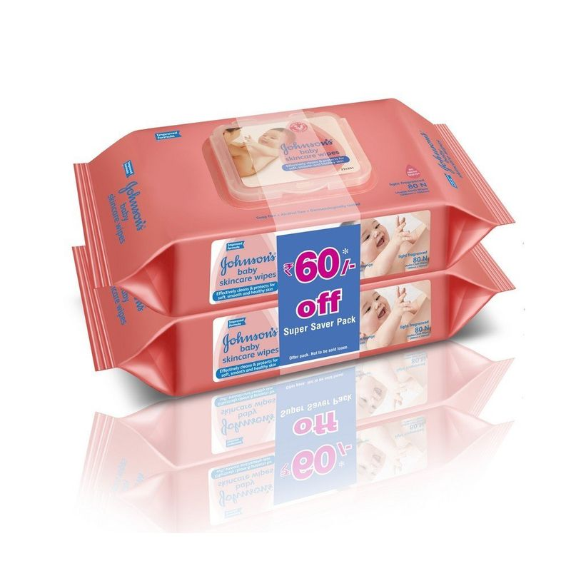 Johnson's Baby Skincare Wipes 80s Pack Of 2 Super Saver Pack (Rs 60 Off)