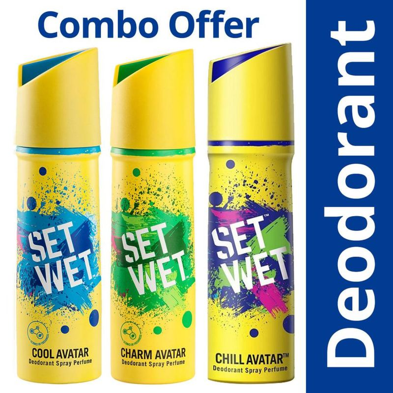 Set Wet Cool, Charm And Chill Avatar Deodorant Spray Perfume 150 Ml Each (Pack Of 3)