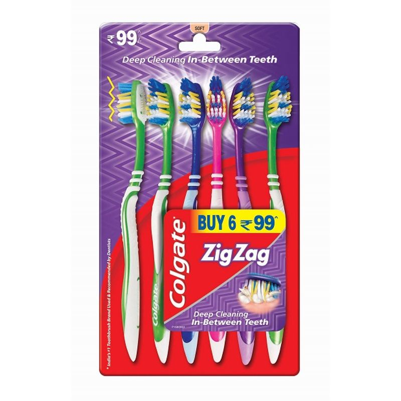 Colgate Zigzag Toothbrush - Soft (Pack Of 6)