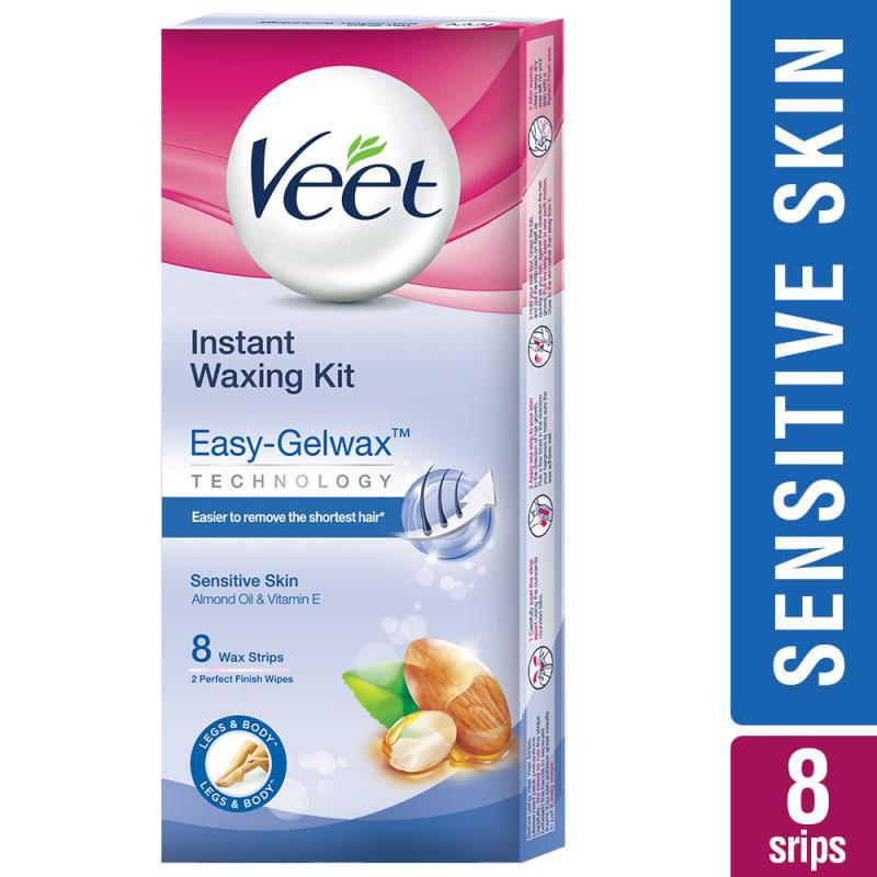 Veet Full Body Waxing Kit Easy-Gelwax Technology Sensitive Skin - 8 Strips
