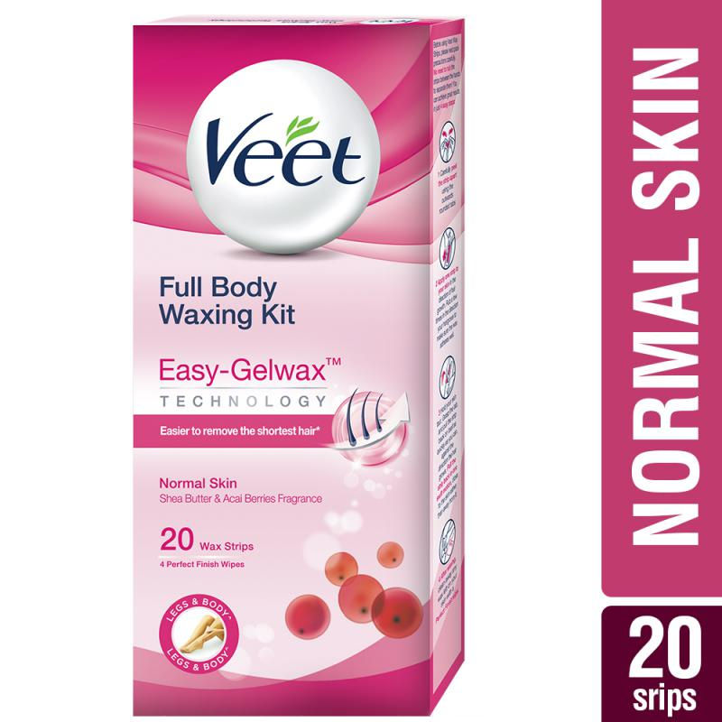 Veet Full Body Waxing Kit Easy-Gelwax Technology Normal Skin - 20 Strips
