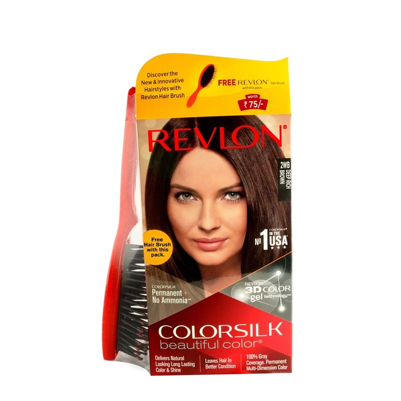 Revlon Colorsilk Hair Color Deep Rich Brown 2WB + Free Hair Brush