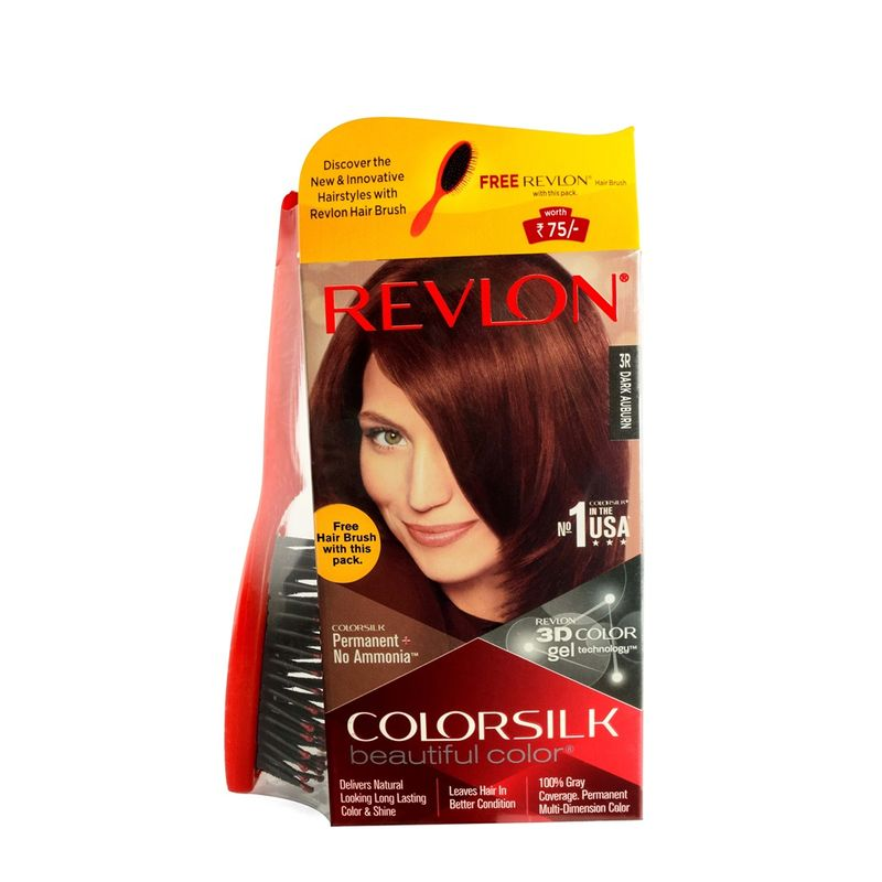Revlon Colorsilk Hair Color Dark Auburn 3R + Free Hair Brush