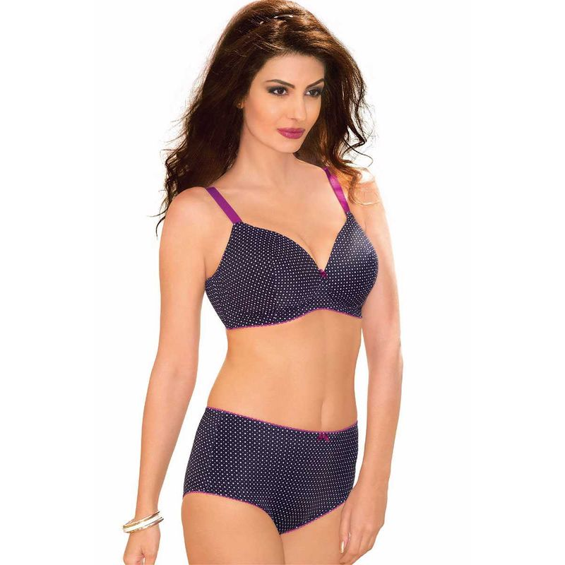 3f8836d8ce15f Amante Black with White Dots Padded Non-wired Full Coverage Bra (34D) at  Nykaa.com