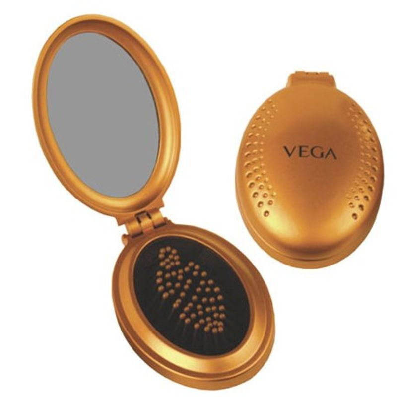 Vega Small Oval Brush With Mirror (R3-FM Color May Vary)