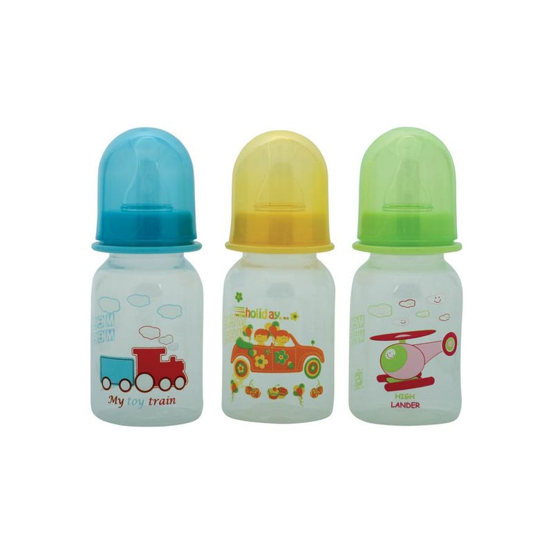 Mee Mee Premium Feeding Bottle Set - (3 Pcs) (Yellow-Blue-Green)
