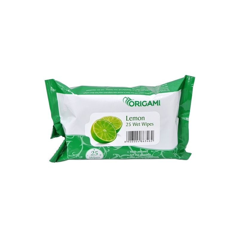 Origami Wet Wipes Pack Of 25 - Lemon