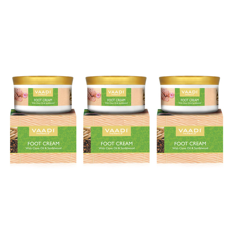 Vaadi Herbals Value Pack Of 3 Foot Cream With Clove Oil & Sandalwood