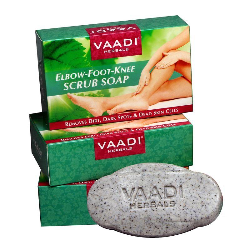 Vaadi Herbals Value Pack Of 3 Elbow-Foot Knee Scrub Soaps With Almond & Walnut Scrub