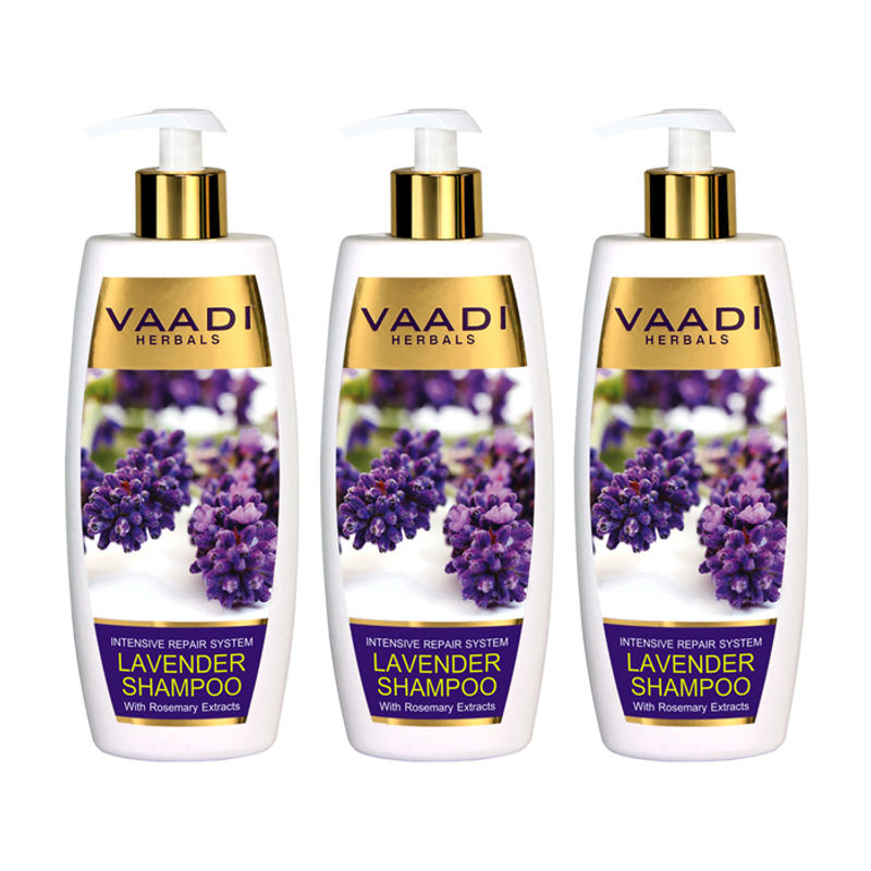 Vaadi Herbals Lavender Shampoo With Rosemary Extract-Intensive Repair System Pack Of 3