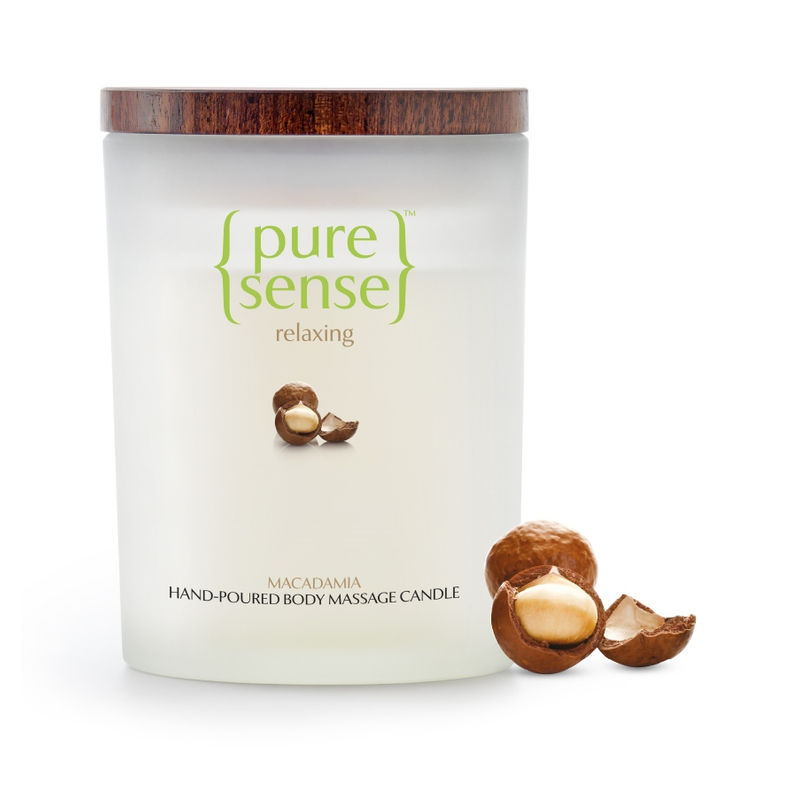 PureSense Macadamia Relaxing Hand Poured Body Massage Candle - Sulphate And Paraben Free