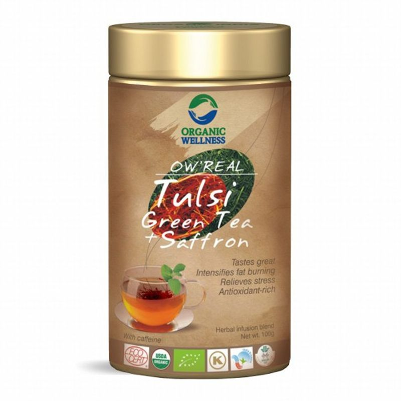 Organic Wellness Real Tulsi Green Tea + Saffron Tin