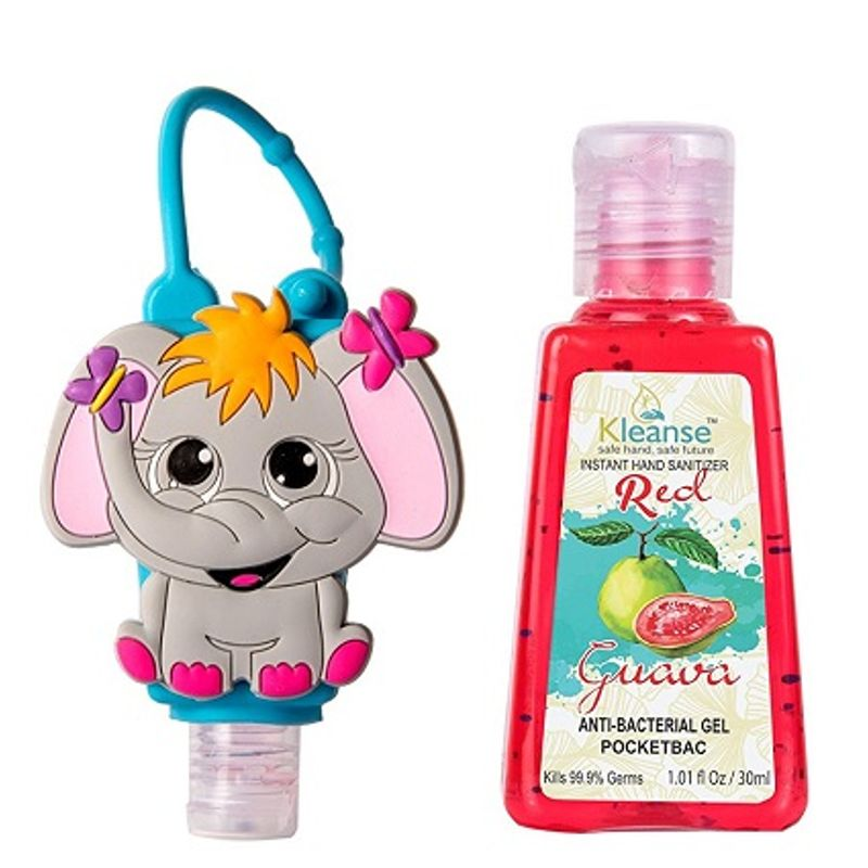 Kleanse Red Guava Instant Hand Sanitizer With 3D Elephant Silicon Holder