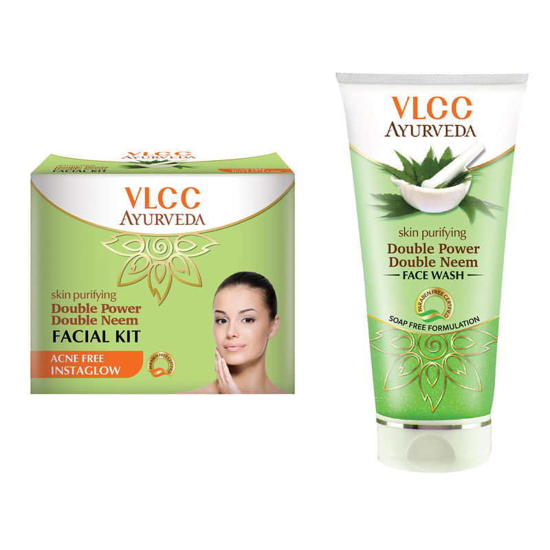 VLCC Ayurveda Double Neem Facial Kit & Double Neem Face Wash Combo