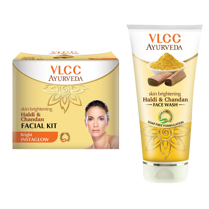 VLCC Ayurveda Haldi Chandan Facial Kit & Haldi Chandan Face Wash Combo - 150 Ml