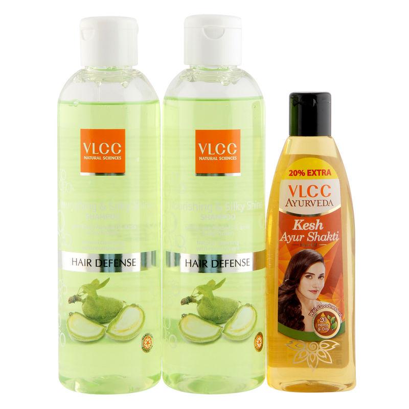 VLCC Nourishing & Silk Shine Shampoo & Ayurveda Hair Oil Combo